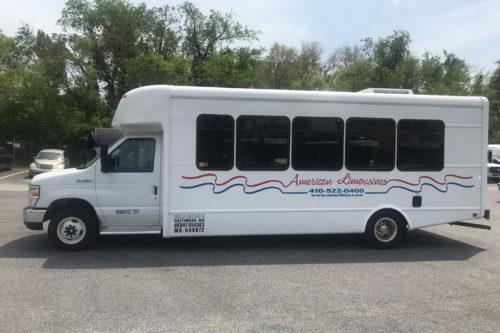 Image of shuttle bus on American Limousines website
