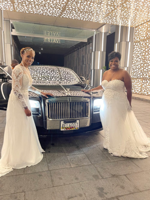 Image of girls outside of limousine